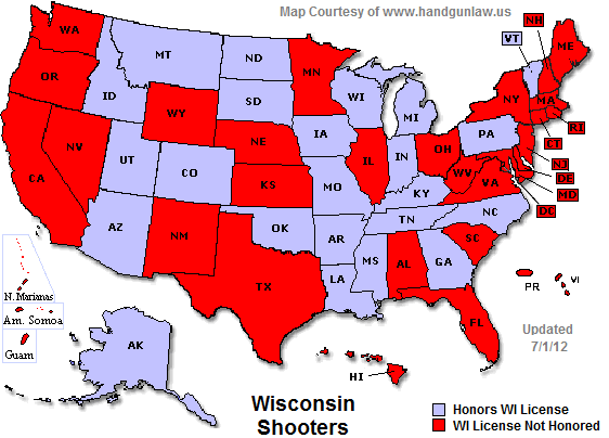 View Topic Map States That Honor Wisconsin Permit - Us carry map
